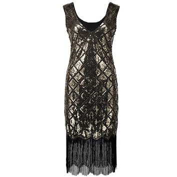 Sparkly Women 1920s Sequined Beaded Gatsby Flapper Party Dress Vintage Vestido V Neck Sleeveless Summer Fringe Midi Plaid Dress