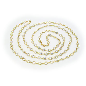 18k Gold Plated Silver CZ By The Yard Necklace, Length: 40 Inches by Fronay Co