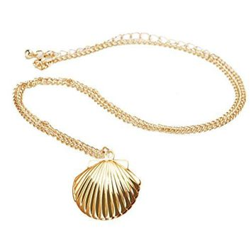 Outus Sea Shell Locket Necklace Gold Tone Brass Mermaid Nautical Shell Jewelry