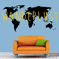 World Map Wanderlust Decal - Home Decor - Living Room - Bedroom - Wall Art - Kids Room - High Quality Vinyl Graphic