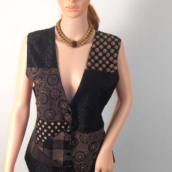 Womens Black and Brown Casual  Bohemian Vest  - eFFeci  Vest - Size Medium - Beaded Vest - Free US Shipping