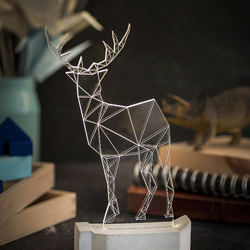 Large Deer Concrete Lamp