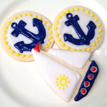 Nautical Anchor & Sailboat Sugar Cookie Iced Decorated Cookie Party Favors