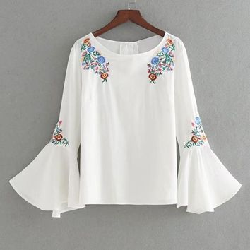 Floral Embroidery White Long Flare Sleeve Split Back Button Blouse