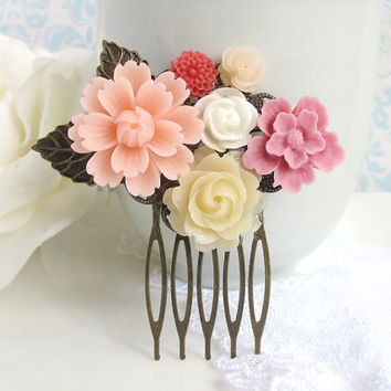 Large Pink Flower, Pink Sakura, Cream and White Rose, Antiqued Leaves. Bridal Wedding Hair Comb. Flowers Collage Hair Accessory Bridal Gift