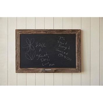 Vintage Rustic Rough Wood Framed Chalkboard with Chalk Holder