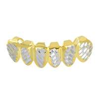 14K Gold Plated Grillz Bottom Tooth 6 Caps Diamond Cut Hip Hop