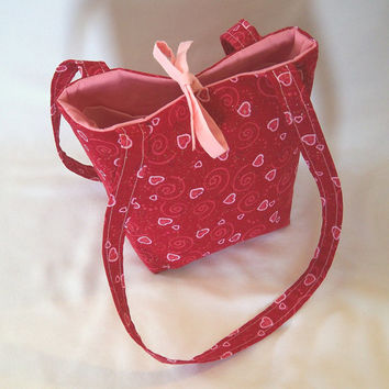 Heart Purse, Small Tote Bag, Cloth Purse, Red, Pink, Hearts, Swirls, Fabric Bag, Handmade Handbag, Shoulder Bag