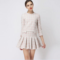 Pink Plaid Sleeve Pleated Knit Dress