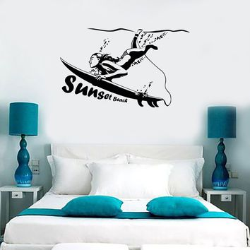 Wall Sticker Vinyl Decal Surfing Sunset Beach Ocean Marine Sports Unique Gift (ig1187)