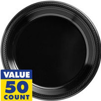 Black Plastic Dinner Plates 50ct- Party City