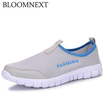 Mens Shoes Male Lazy Network Shoes Cushioning Foot Wrapping Slip-on Breathable Summer Mesh Platform Big sizes 39-46