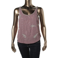 Bar III Womens Chiffon Embellished Tank Top
