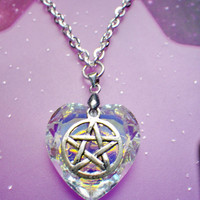 Crystal heart Pentacle necklace by lotusfairy on Etsy