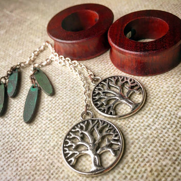 "Magnetic Bloodwood Tunnels w/ Tree of Life Dangles-Sizes 00g(10mm)-1 1/2""(38mm)/Bronze/Silver/Organic/Hippie/Wedding/Eyelets/Gauges/Plugs"