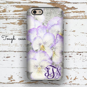 Floral fashion accessory, Pretty Iphone 5c case, Women's Iphone 6+ case, Monogram iPhone 5 case, iPhone 4 case, Purple white yellow (1340)