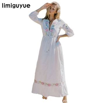 limiguyue flowers embroidery white mexican boho dress women hippie chic bohemian people long dresses beach party dress Z0672
