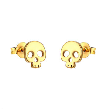 Skull Design Earrings 14k Gold Plate Studs Stainless Steel Goth Mens Womens