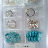"Necklace,Bracelet,Earring, Turquoise and silver jewelry making kit. DIY Jewelry making kit, by Annie""s Simply Beads, Bead of the month kit"