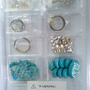 """Necklace,Bracelet,Earring, Turquoise and silver jewelry making kit. DIY Jewelry making kit, by Annie""""s Simply Beads, Bead of the month kit"""