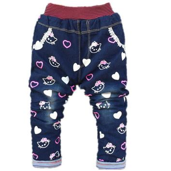 Baby Girl Jeans Trousers Hello Kitty Pants Kids Girls Leggings Children Cashmere Pants Baby Winter Denim Jeans Clothes 1-5years