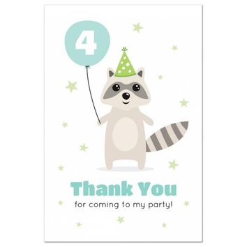 Cute raccoon with balloon birthday thank you postcard with custom age | thank you for coming to my party