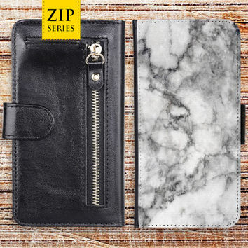 iphone 6 wallet case marble white zip pocket detachable leather cover for apple iphone 4 4s 5 5s 5c 6s ipod touch gemstone