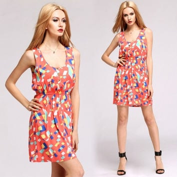 New Fashion Women Casual Dress Geometric Print Colorful Party Sundress