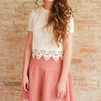 ANGELIC CROPPED CROCHET SWEATER