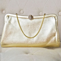 1950s Gold Metallic Evening Bag Clutch