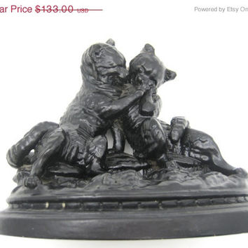 SALE Cat Couple Statue - Kissing Cats Large Figurine - Anthropomorphic - Victorian Black Cats