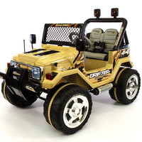 Jeep Wrangler Style 12V Kids Ride-On Car MP3 Battery Powered Wheels RC Remote | Desert Sand
