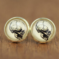 skull stud earrings, fake plugs, skeleton, black and ivory, bohemian