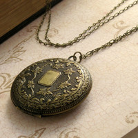Large Floral Engraved Locket Necklace
