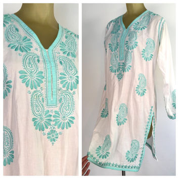 Teal Embroidered Tunic, Long Sleeve Bohemian Indian Tunika Shirt Dress, White Cotton, Aqua Blue Green Paisley Embroidery Boho Tunic blouse M