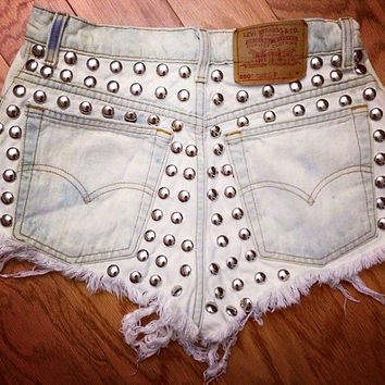 Bleached Metal Shorts (high-waisted, studded, distressed)