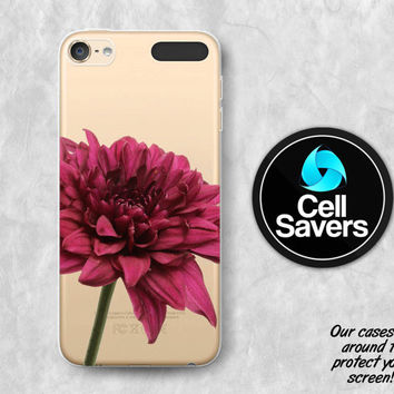 Chrysanthemum Clear iPod 5 Case iPod 6 Case iPod 5th Generation iPod 6th Generation Rubber Case Gen Clear Case Purple Flower Floral Petals