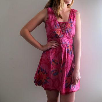 Vintage Pink Floral Print Dress Shabby Chic Boho Bohemian Summer Mini Babydoll Sexy Free People Style