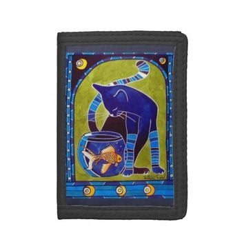 Blue Cat With Goldfish Trifold Wallets