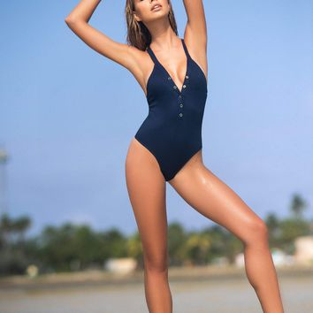 One Piece Ribbed Swimsuit