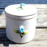 Vintage Vanity Jar Ceramic Blue Flowers Drug Store Canister, with lid, for Make Up / Jewelry Small Size Trinket Box Blue Flowers