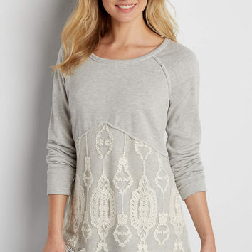 french terry pullover sweatshirt with embroidered mesh overlay | maurices