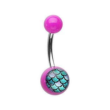 Mermaid Scales Acrylic Logo WildKlass Belly Button Ring
