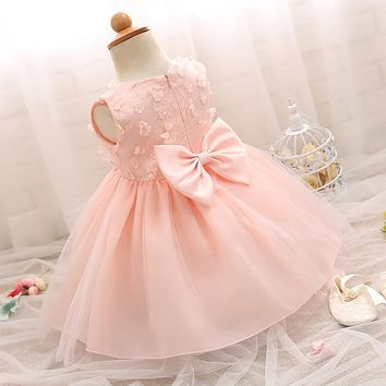 Newborn Party Infant Kids Dress Cute Bow Flower Girls Clothes Christening 1 2 Birthday Party Formal Events Princess Girl Dresses