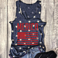 "Women's Navy Blue American Flag ""Merica"" Graphic Printed Scoop Neck Tank Top T-Shirt"