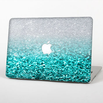 The Aqua Blue & Silver Glimmer Fade Skin Set for the Apple MacBook Laptop (Most Versions Available - Choose Coverage)