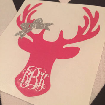 Deer Head Monogram with Bow