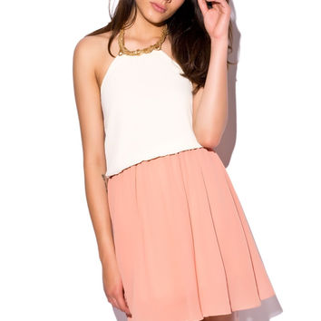 Coral Skater Dress with Embellished Collar