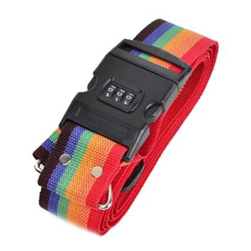 5pcs( 4M ABS Long Luggage Suitcase Baggage Cross Strap With Secure Coded Lock Rainbow