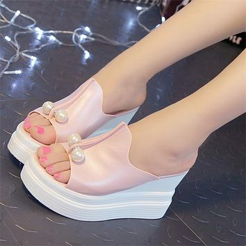 Designer Women Summer Sandals Thick Heel Platform Wedges Beading Slippers